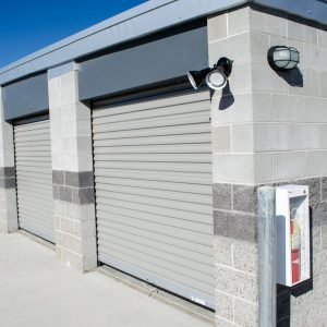 Angled view of our modern climate controlled storage units in Springville Utah